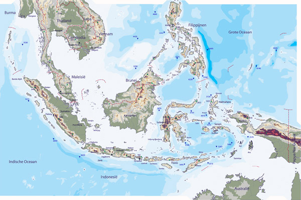 Large detailed physical map of Indonesia. Indonesia large detailed physical map.