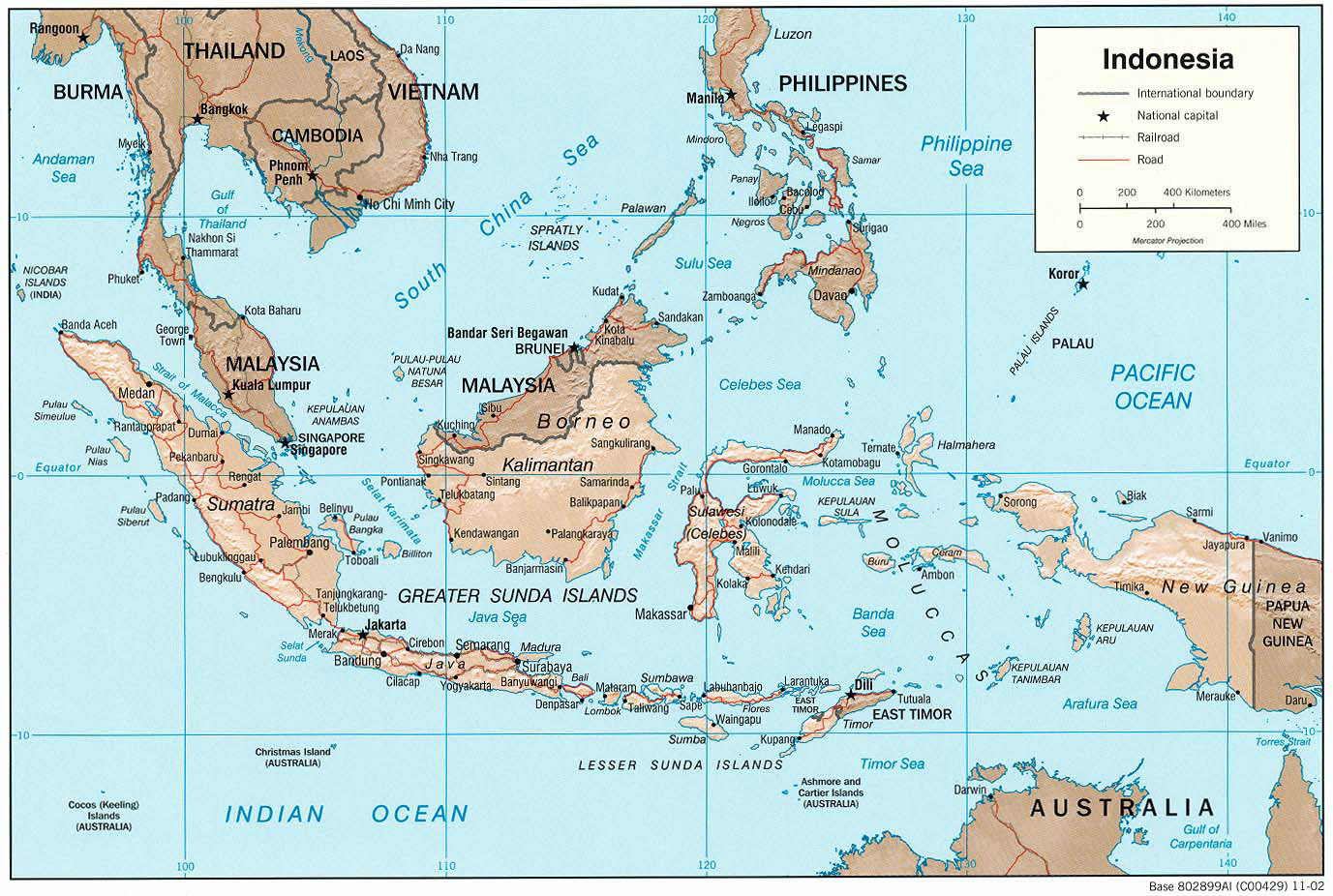 Large Detailed Political Map Of Indonesia Indonesia Large - Indonesia maps with countries