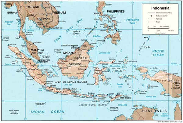 Large detailed political map of Indonesia.