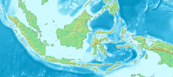 Large topographical map of Indonesia.