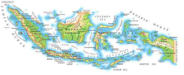 Physical map of Indonesia. Indonesia physical map.