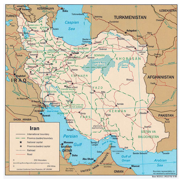 Detailed administrative map of Iran. Iran detailed administrative map.