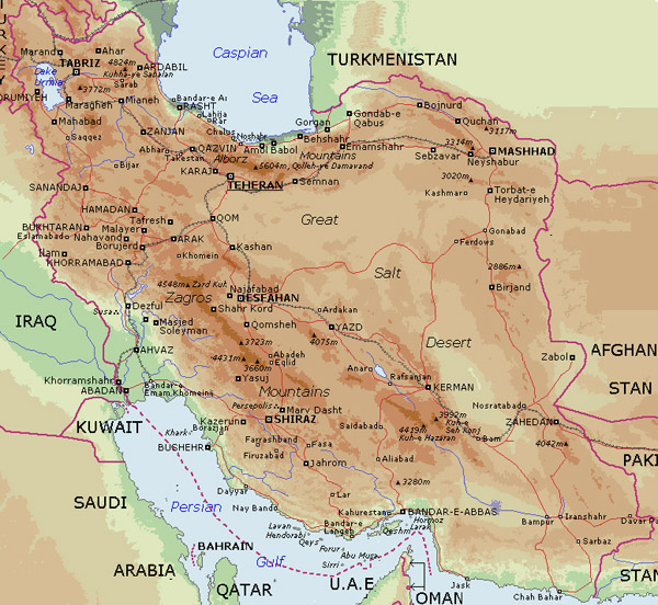 Detailed physical map of Iran. Iran detailed physical map.