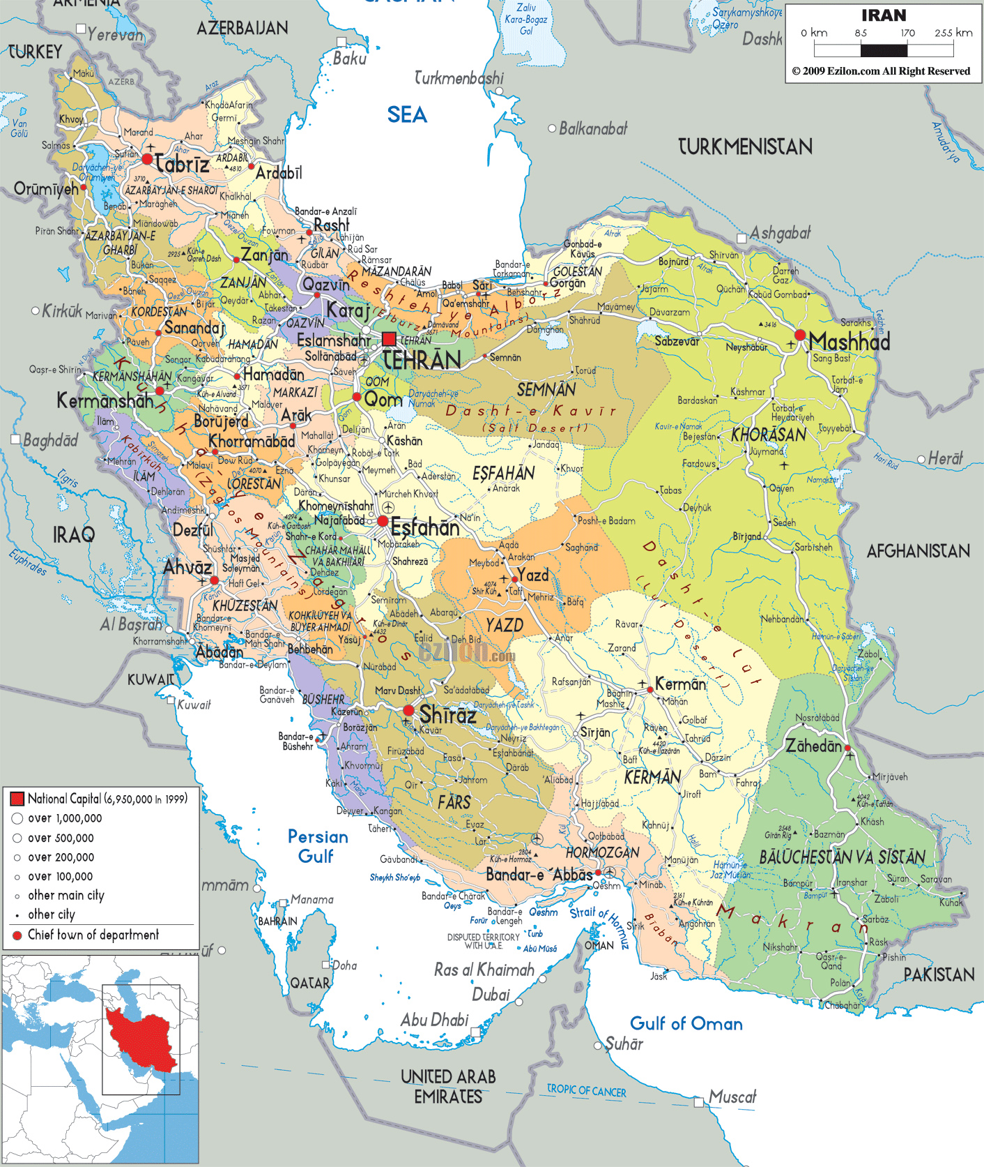 Map Australia 4074.Detailed Political And Administrative Map Of Iran With All Cities