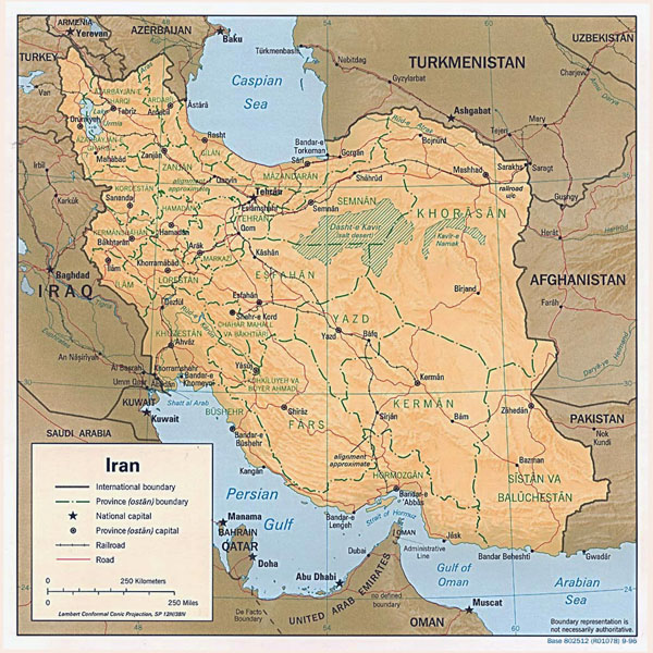 Detailed political map of Iran with relief, major cities and roads - 1996.