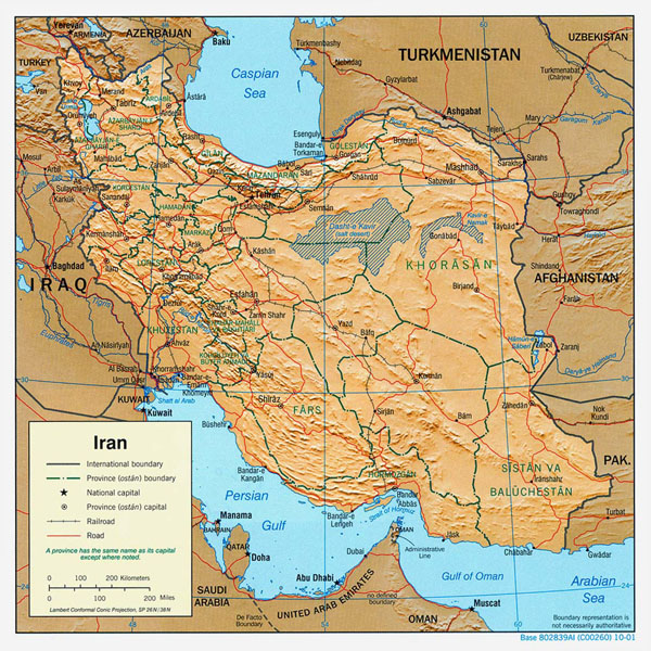 Detailed political map of Iran with relief, major cities and roads - 2001.