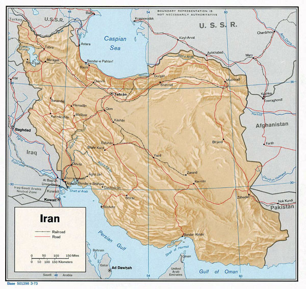 Detailed relief and political map of Iran with major cities and roads - 1976.