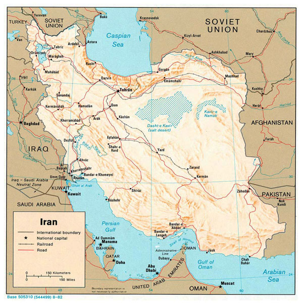 Detailed relief and political map of Iran with major cities and roads - 1982.