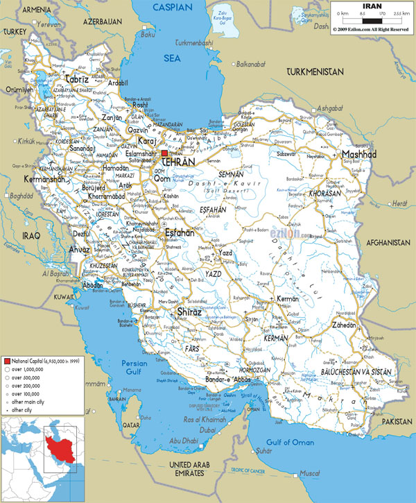 Detailed road map of Iran with all cities and airports.