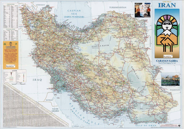 Large detailed guide map of Iran with all roads.