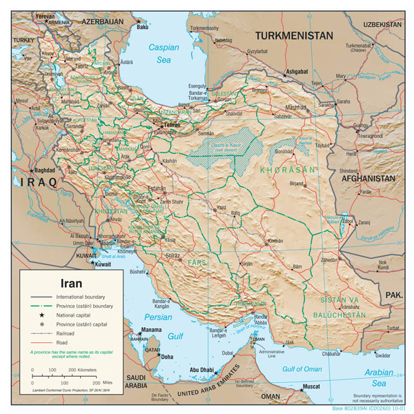 Large detailed physiography map of Iran with major cities, roads and administrative divisions - 2001.