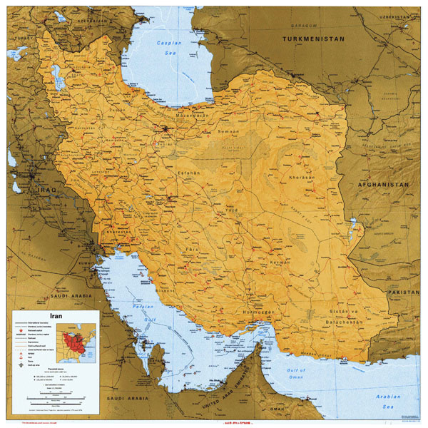 Large detailed political map of Iran with all roads, cities and airports.