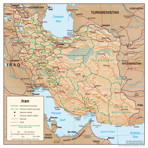 Large detailed political map of Iran with relief, major cities and roads - 2001.