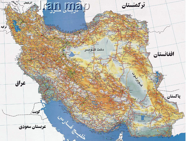 Large detailed road map of Iran in Persian.