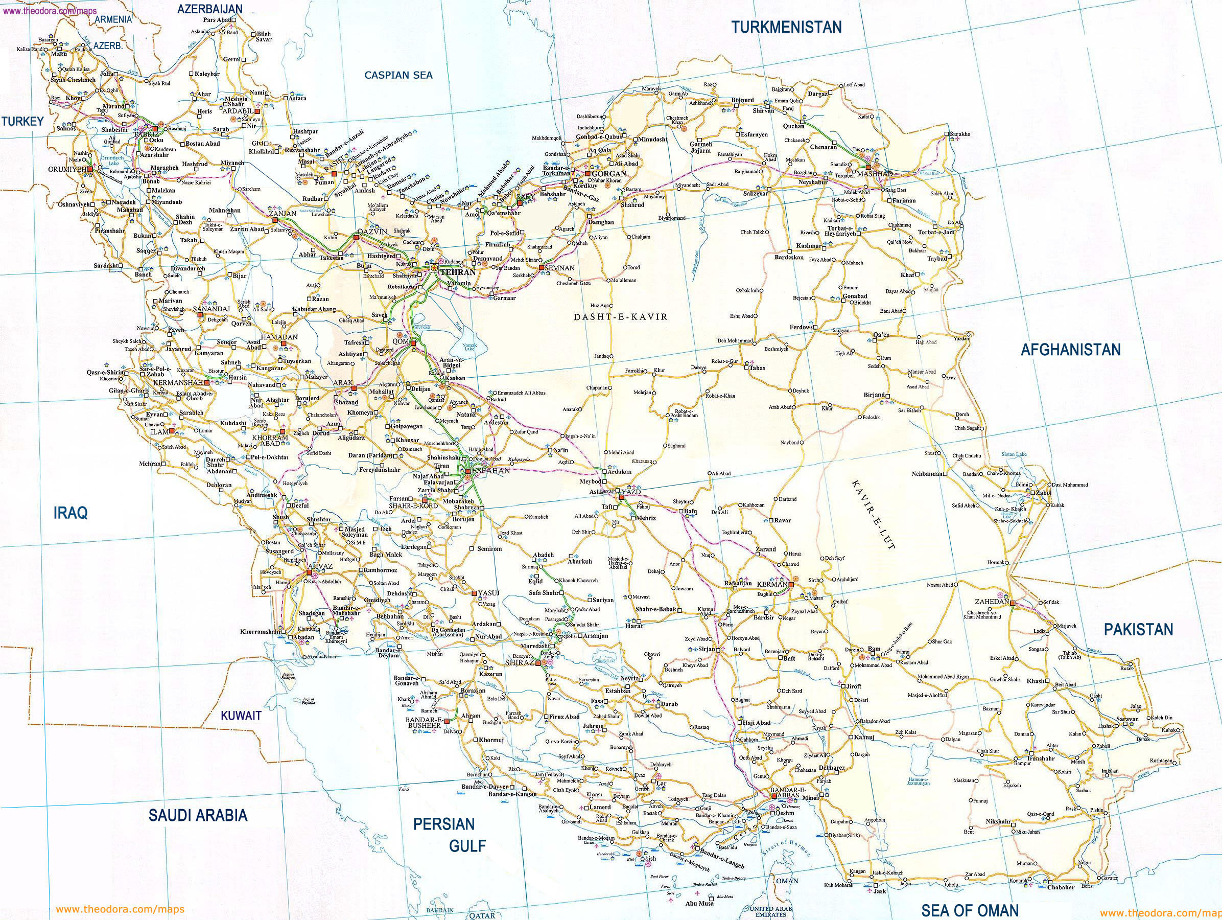 Large Detailed Road Map Of Iran Iran Large Detailed Road Map - Map of iran