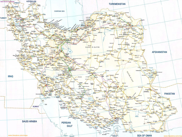 Large detailed road map of Iran. Iran large detailed road map.