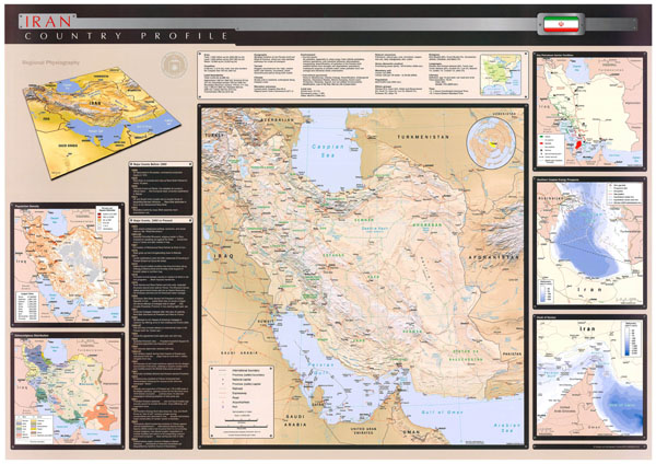 Large scale detailed country profile wall map of Iran - 2004.