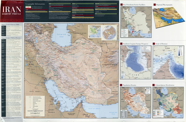 Large scale detailed country profile wall map of Iran - 2009.