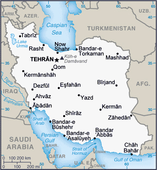 Small map of Iran. Iran small map.