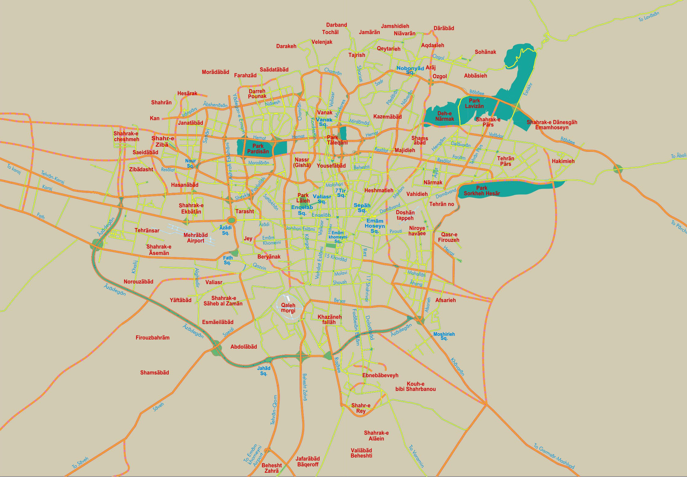 Tehran city detailed road map. Detailed road map of Tehran city