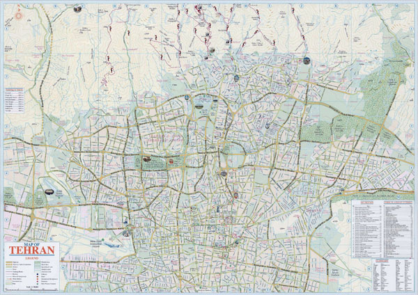 Large detailed tourist map of Tehran city.