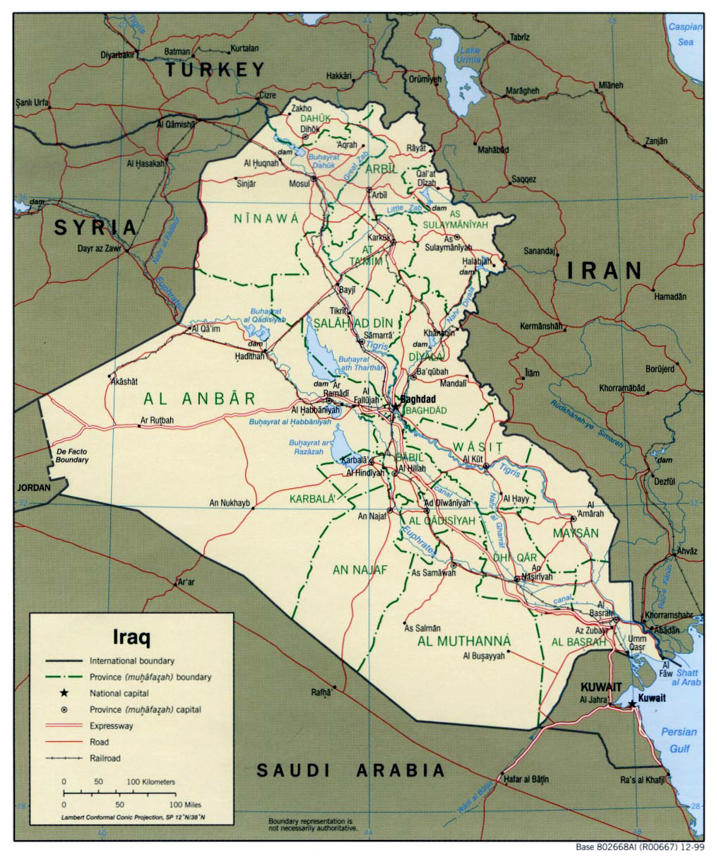 detailed political and administrative map of iraq with