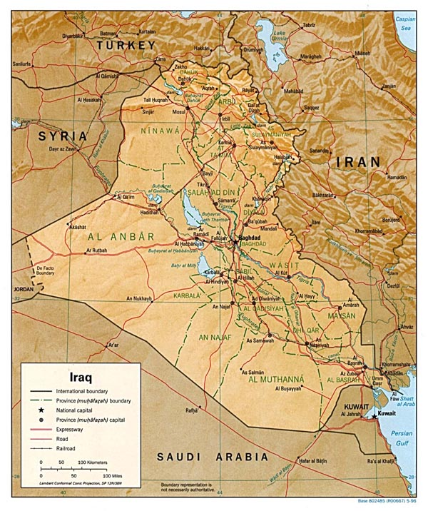 Detailed relief and administrative map of Iraq.