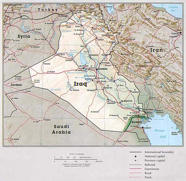 Detailed road and political map of Iraq.