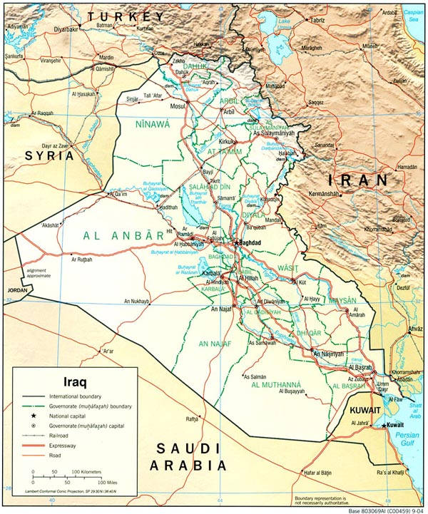 Detailed road and relief map of Iraq.