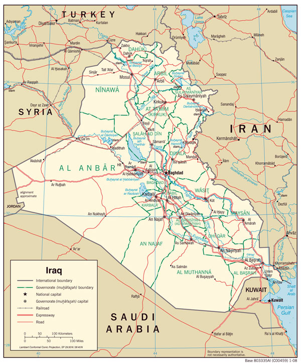 Large detailed road and administrative map of Iraq.