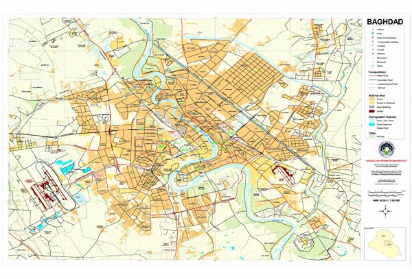 Large detailed road map of Baghdad city.