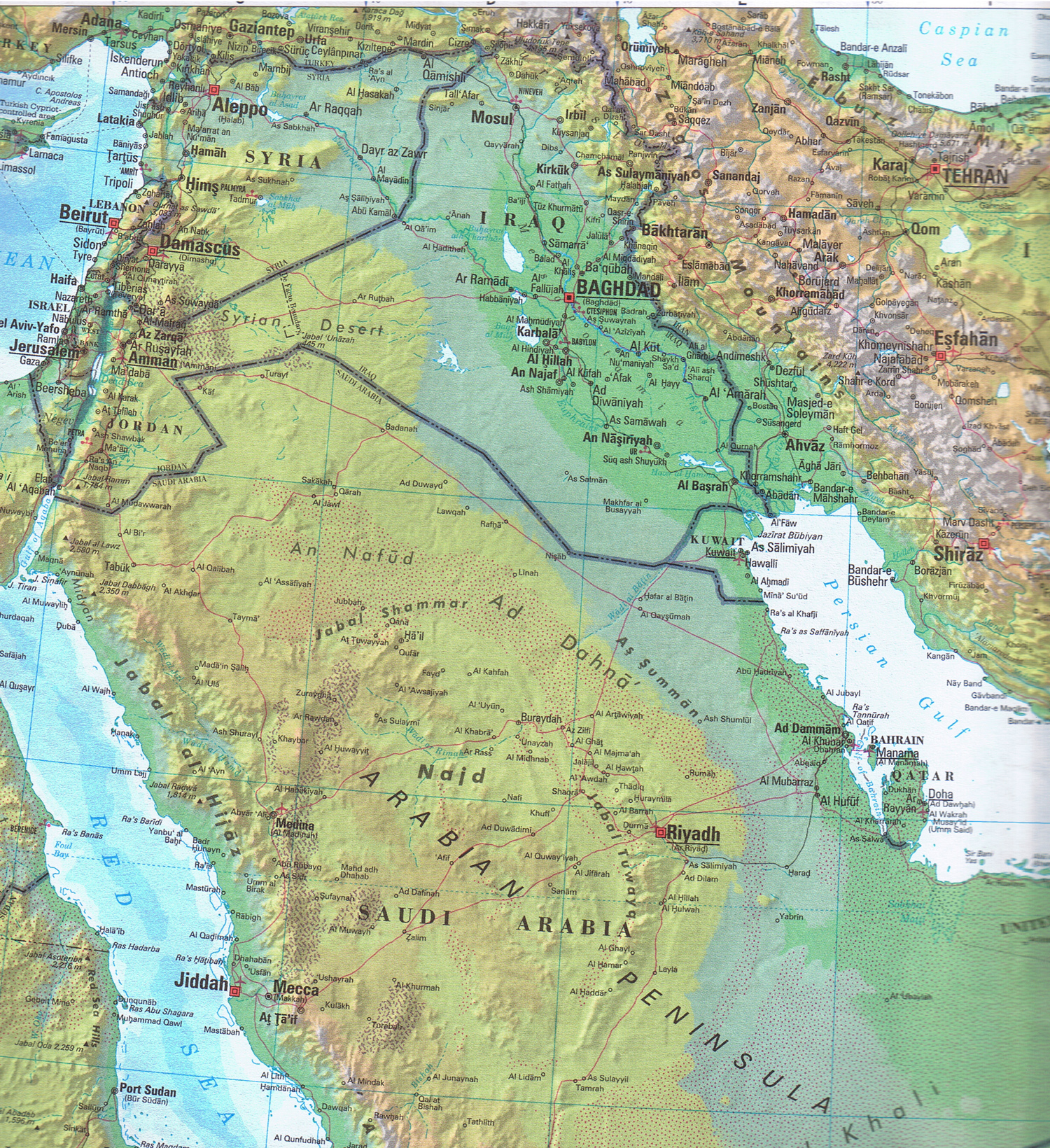 large detailed topographical and political map of iraq iraq large detailed topographical and political map