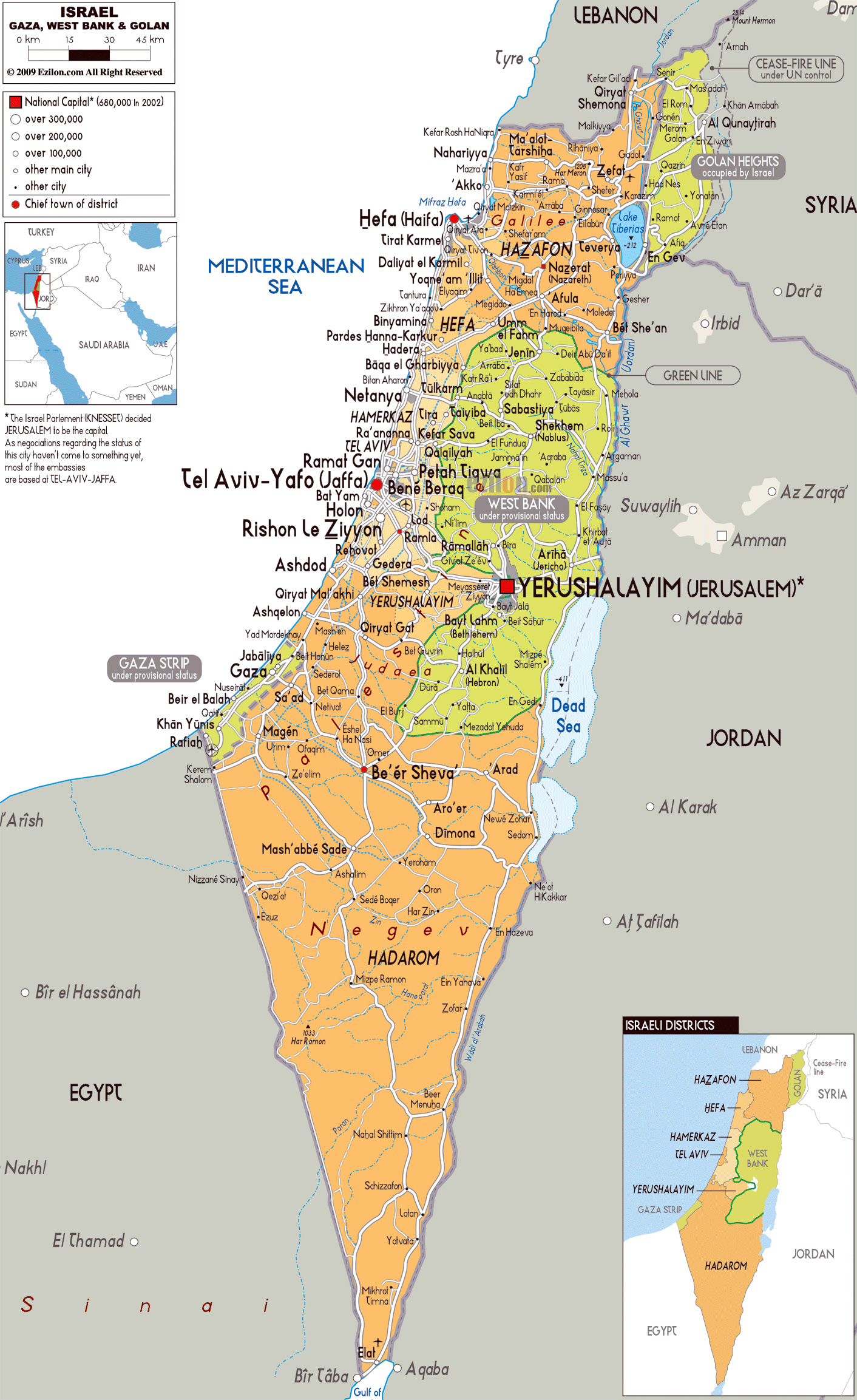detailed political and administrative map of israel with all roads cities and airports