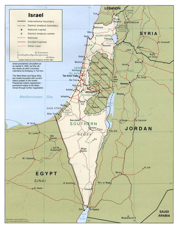 Detailed political map of Israel. Israel detailed political map.