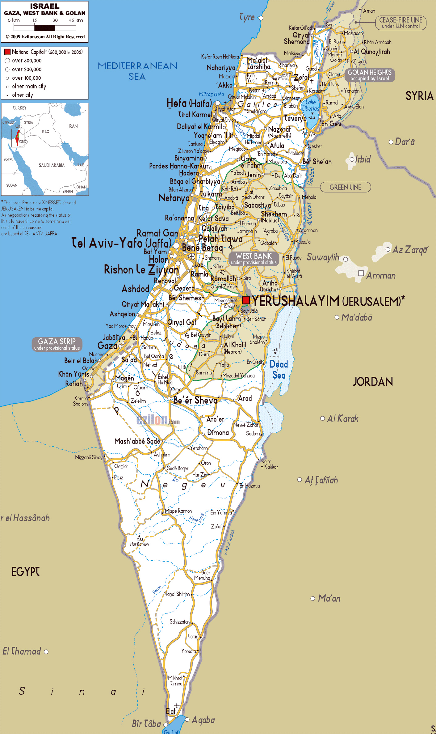 Detailed roads map of Israel with all cities and airports Vidiani