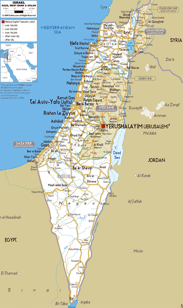 Detailed roads map of Israel with all cities and airports.