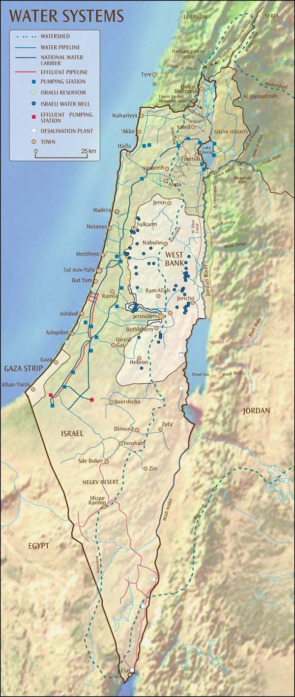 Detailed water systems map of Israel. Israel detailed water systems map.