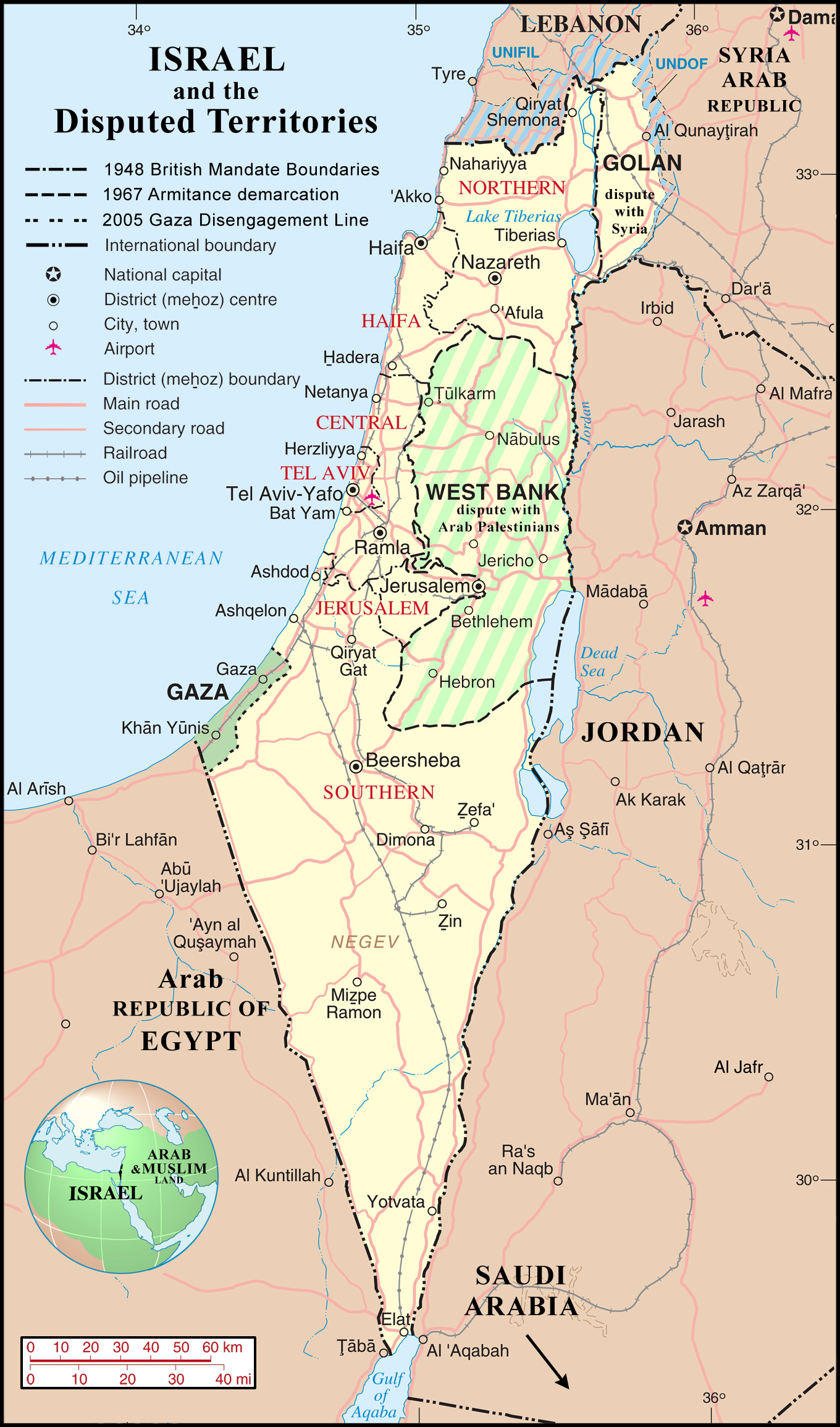 Large detailed political and administrative map of Israel with