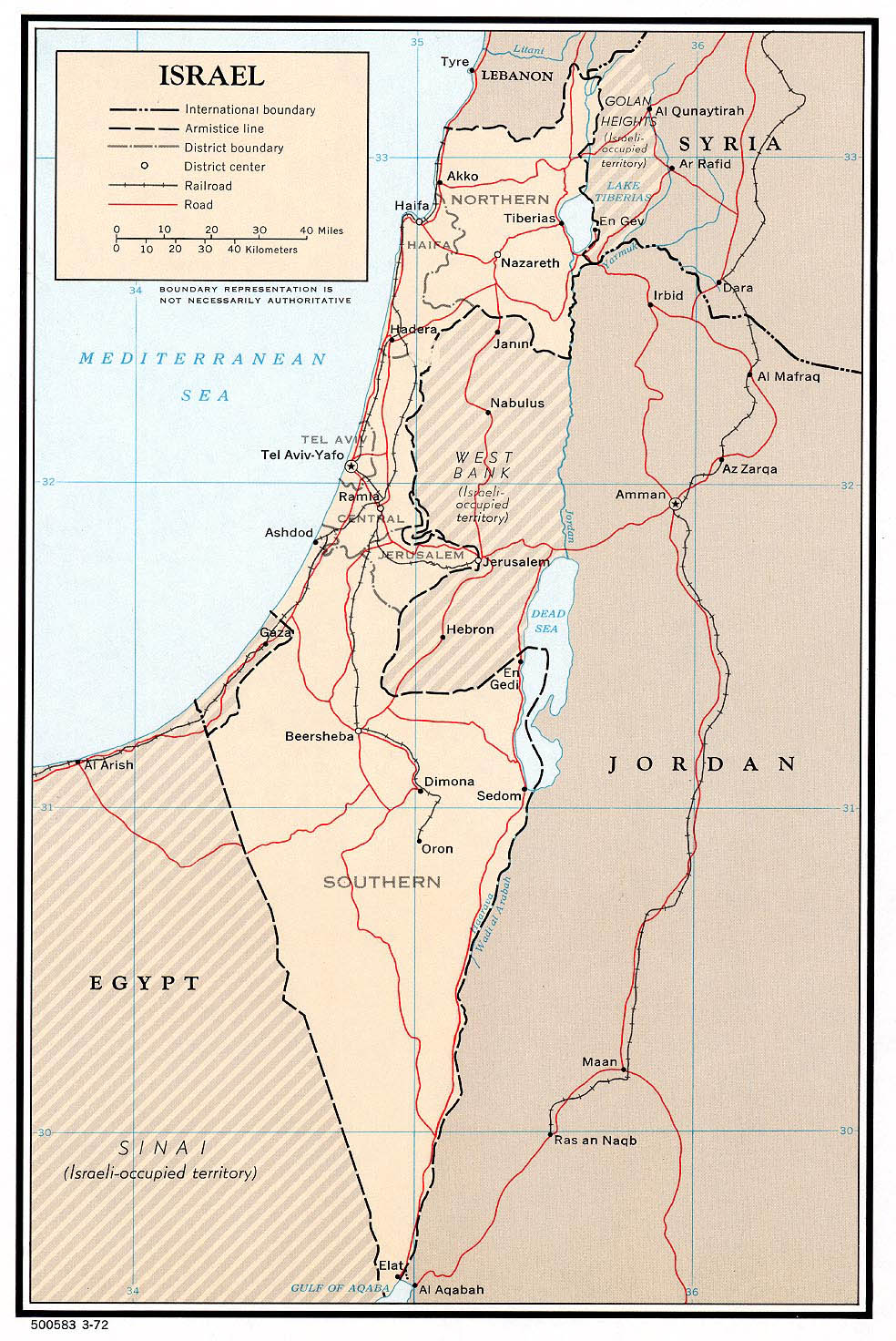 Large detailed political and administrative map of Israel 1972