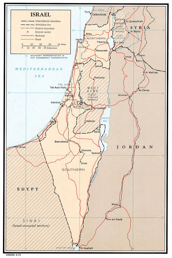 Large detailed political and administrative map of Israel - 1972.