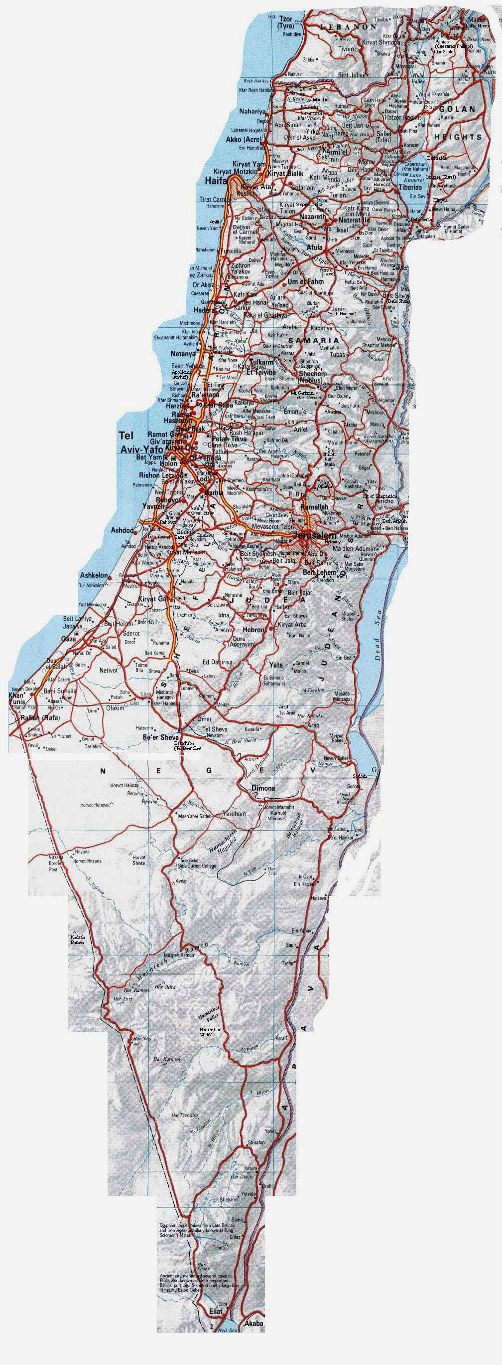 Large detailed road map of Israel Israel large detailed road map