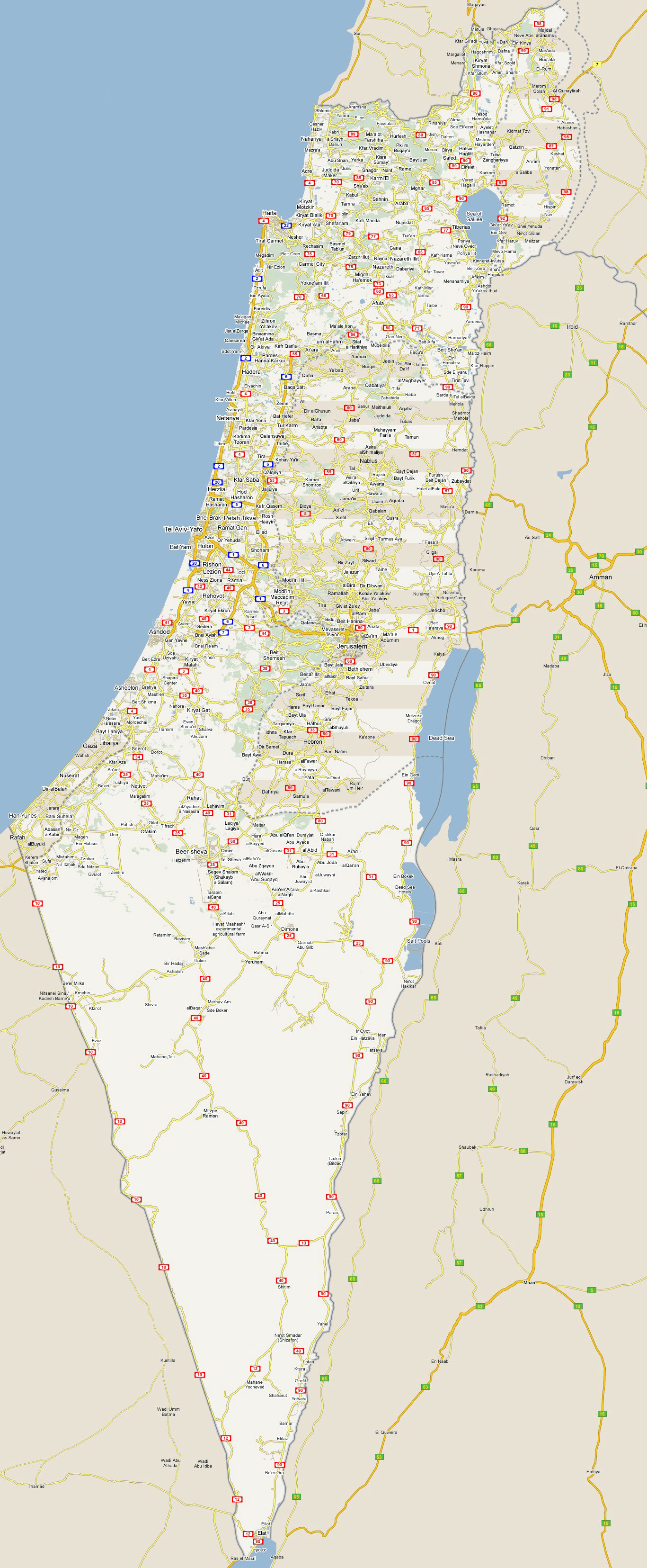Large detailed roads map of Israel with all cities Vidianicom