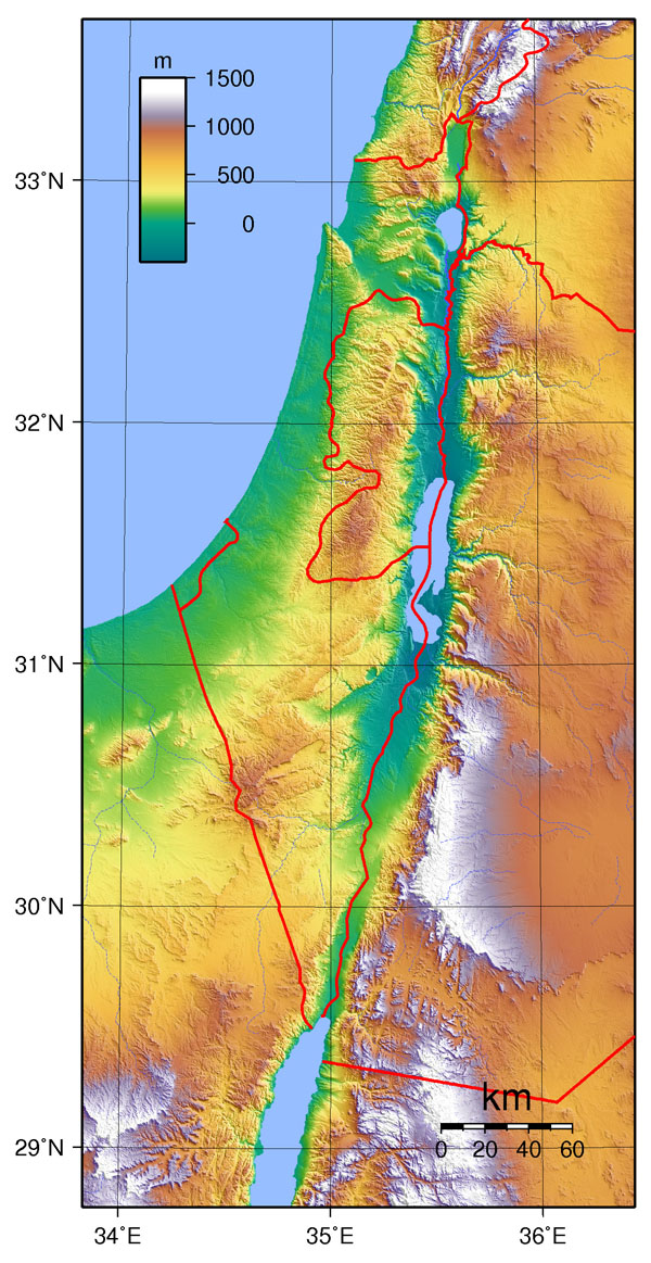 Large detailed topographical map of Israel.