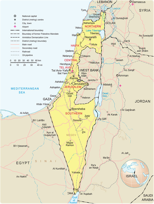 Political and administrative map of Israel.