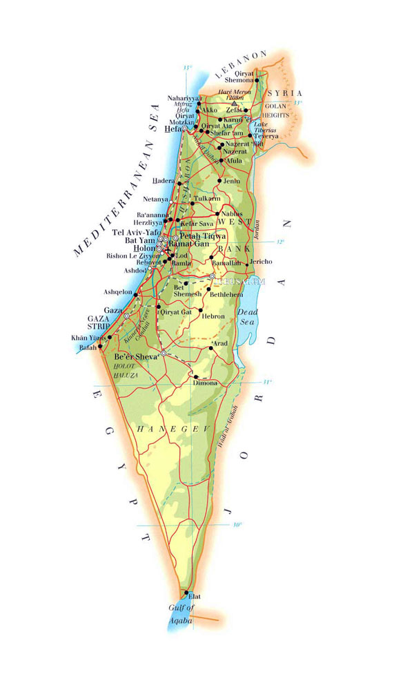 Road and physical map of Israel. Israel road and physical map.