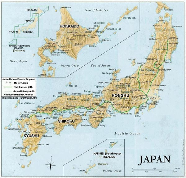 Detailed relief and political map of Japan. Japan detailed relief and political map.