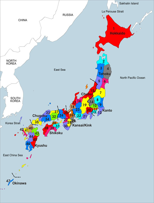Large detailed administrative map of Japan.