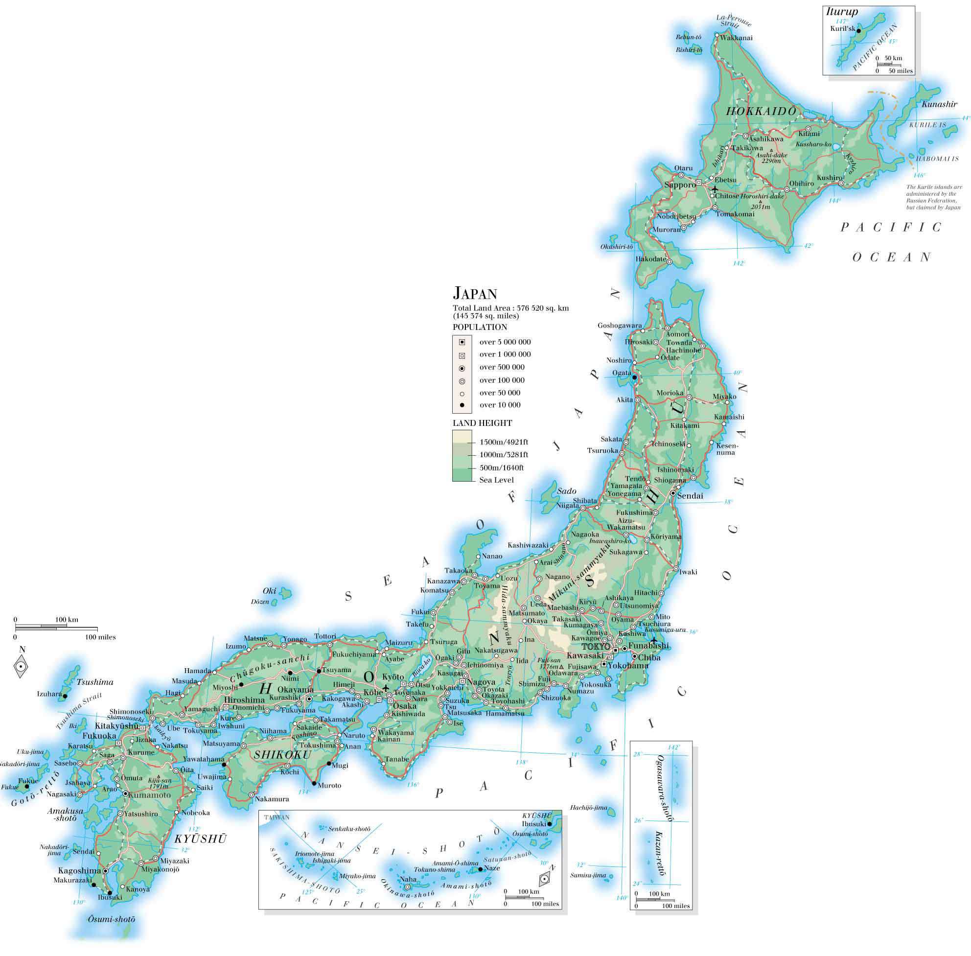 Large detailed road and topographical map of Japan Japan large