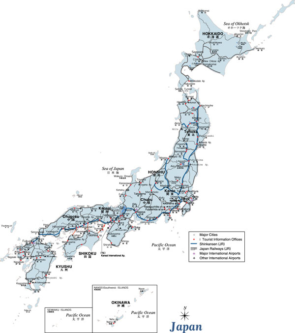 Large detailed road map of Japan. Japan large detailed road map.