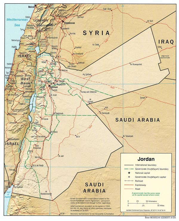 Detailed administrative and political map of Jordan.